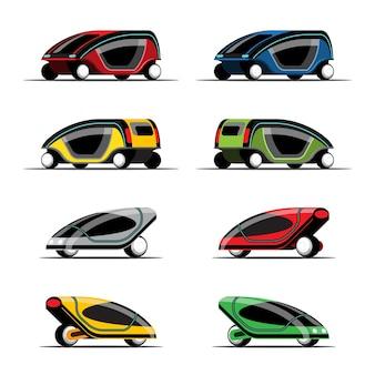 Set di auto a risparmio energetico design chic hi-tech su bianco