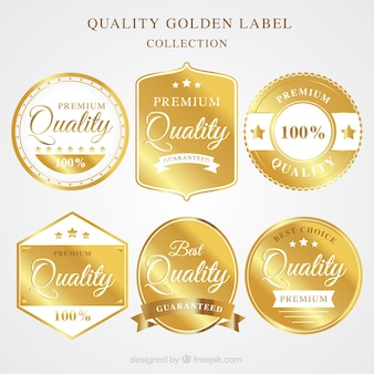 Set of high quality golden stickers