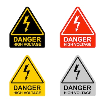 Set of high voltage hazard signs