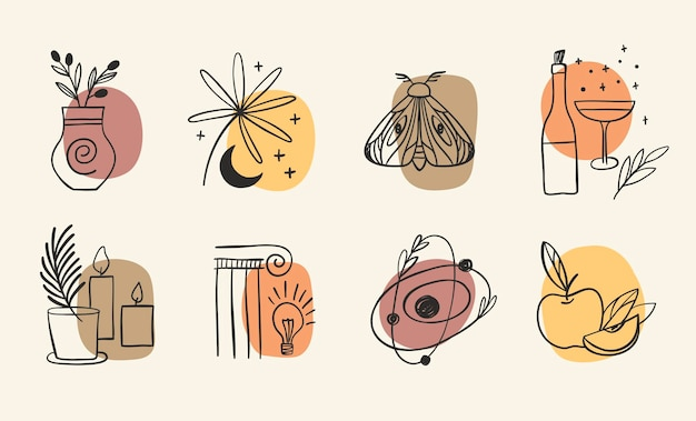 Set of highlights stories icon for social media trendy vector composition with flowers and alchemy