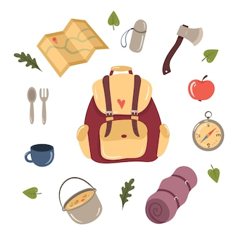 Set of hiking and camping design elements.
