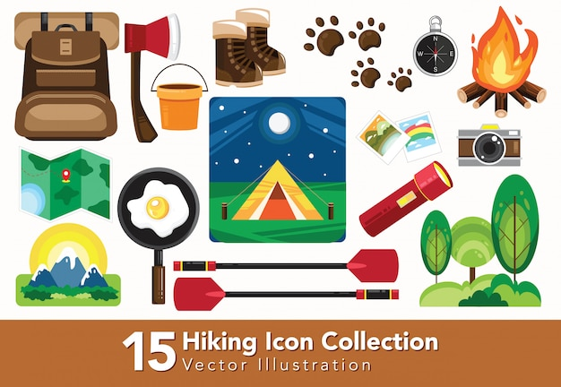 Set of hiking equipment collection