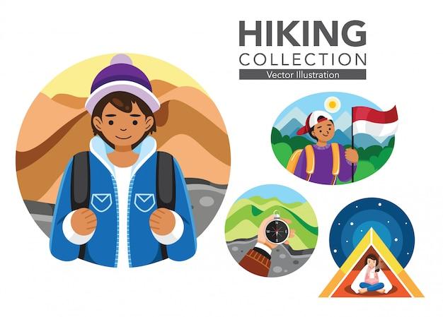Set of hiking illustration