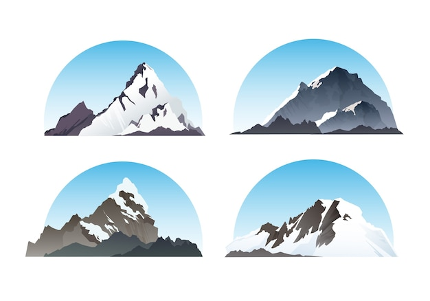 Set of hill and nature elements snow illustration