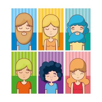 Set of hippie avatar