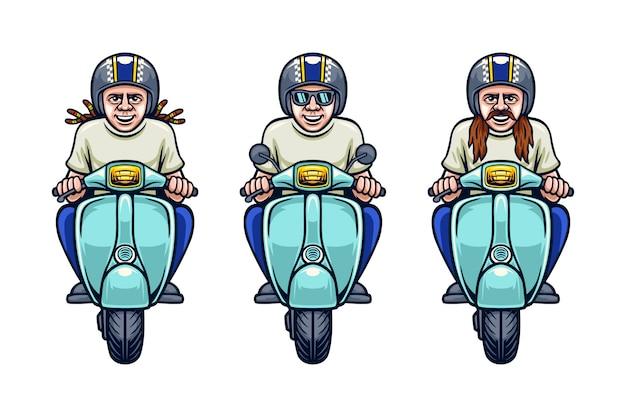 Set of hippie man in helmet riding scooter