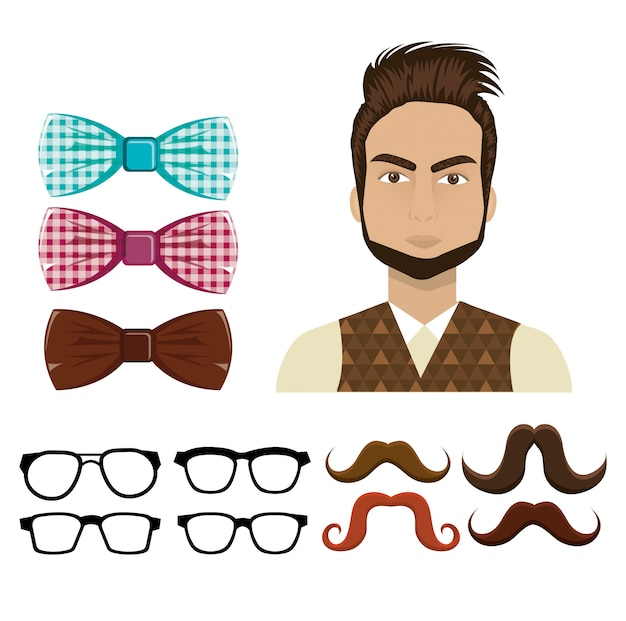 Set of hipster elements