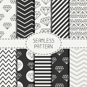 Set of hipster geometric seamless pattern with diamond.