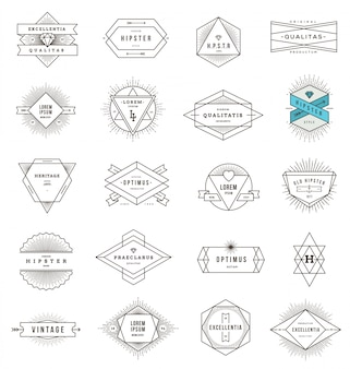 Set of hipster line emblems and signs with sunburst