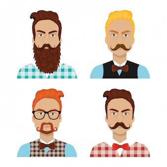 Set of hipster people