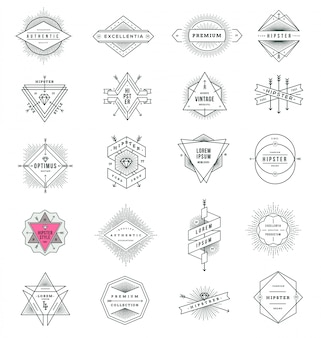 Set of hipster style line signs and emblems with sunburst