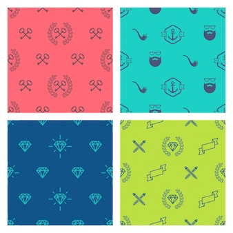 Set of hipster style seamless background -  illustration