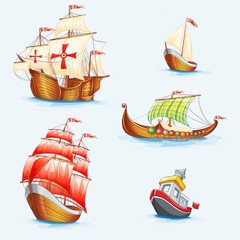 Set of historical ships