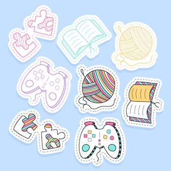 Set of hobby different element stickers handwritten collection in cartoon style.