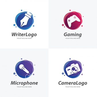 Set of hobby logo design templates