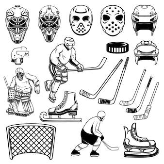 Set of hockey design elements illustration