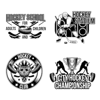 Set of hockey emblems