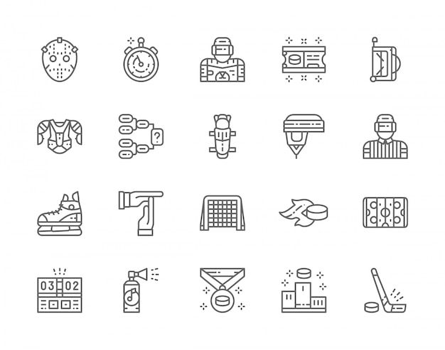 Set of hockey line icons. puck, stopwatch, goalkeeper, ticket, sports bag, protection uniform, referee, champion medal, pedestal and more.