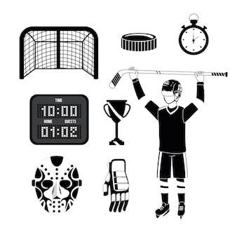 Set hockey player with equipment and professional uniform