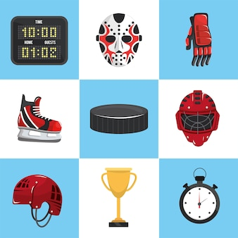 Set hockey sport with professional equipment