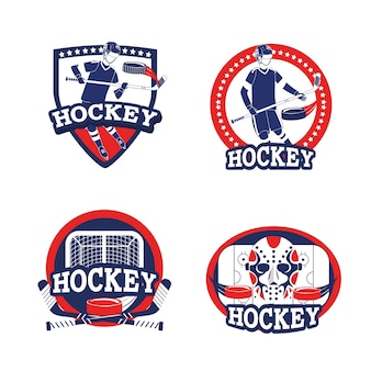 Set hockey sport with professional equipment