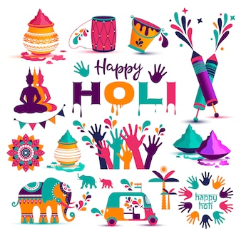 Set of holi flat icons in indian style