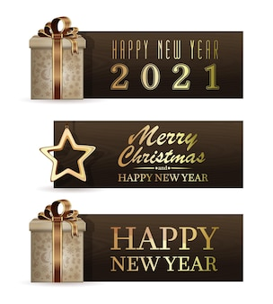 Set of holiday banners for 2021. merry christmas and happy new year. vector illustration Premium Vector