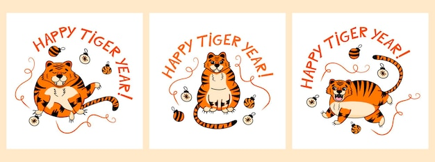 Set holiday card templates with a chinese tiger the inscription happy tiger year in cartoon style