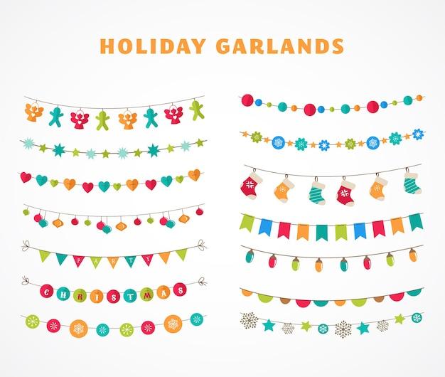 Set of holiday garlands