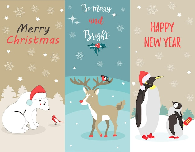 Set of holiday greeting cards with polar bear, penguins, deer and birds.
