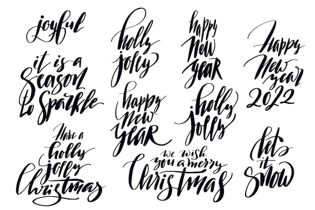 Set of holiday lettering for christmas cards