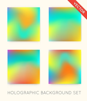 Set of holographic trendy backgrounds. can be used for cover, book, print, fashion.