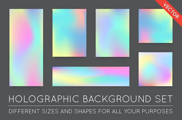 Set of holographic trendy backgrounds.