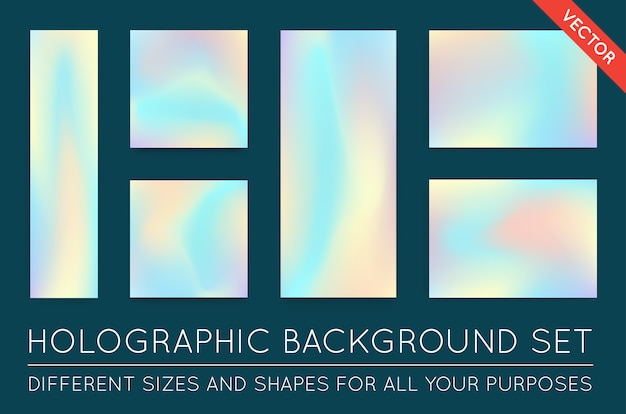Set of holographic trendy backgrounds
