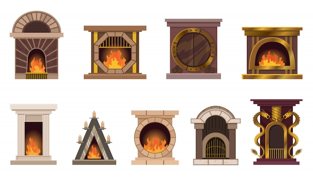 Set of home fireplaces with fire. different design of fireplaces. flat icon design. illustration isolated on white background
