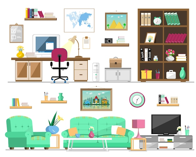Set of home furniture: bookcase, sofa, armchair, pictures, tv, lamp, computer, table, flowers, clock, shelves. interior    illustration.