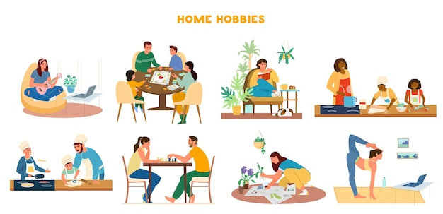 Set of home hobbies. leisure activities at home playing ukulele, boardgames, reading, cooking, playing chess, gardening, doing yoga.