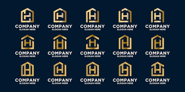 Set of home or house logo combined with letter h designs template premium vector