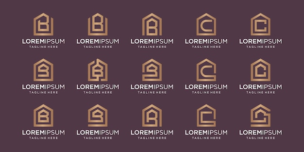 Set of home logo combined with letter b, c, designs template.