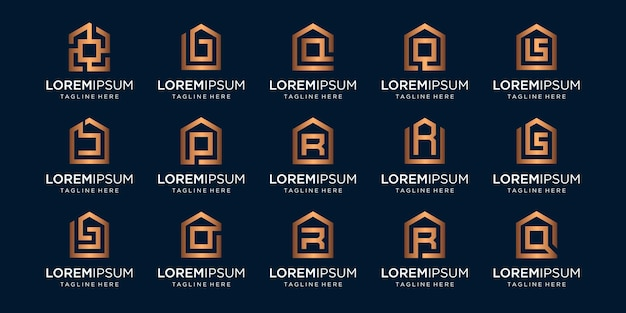 Set of home logo combined with letter b, p, r, q, designs template. Premium Vector