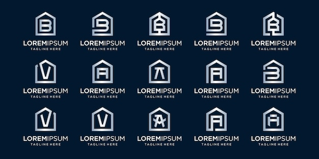 Set of home logo combined with letter a, b, v, designs template