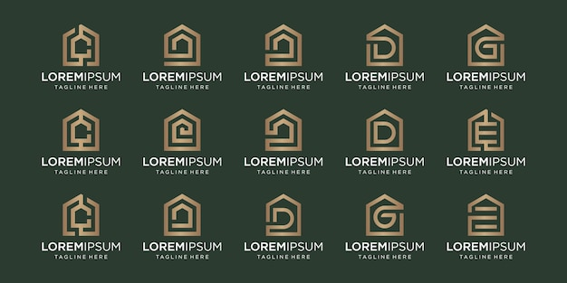 Set of home logo combined with letter c, d, g, e, designs template.