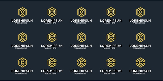 Set of home logo combined with letter c   designs template