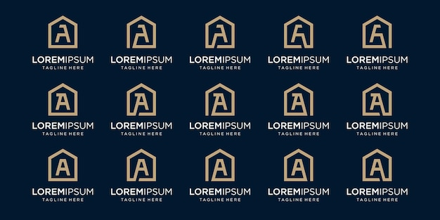 Set of home logo combined with letter a, designs template.
