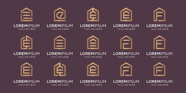 Set of home logo combined with letter e, f, designs template.