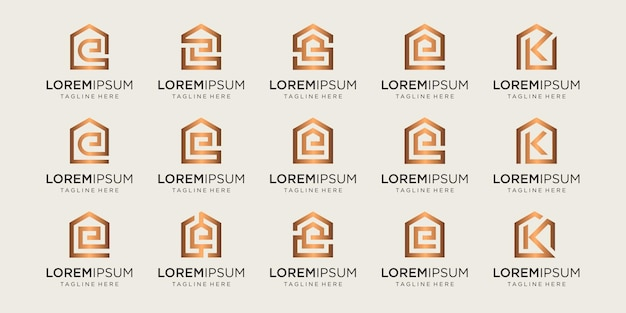 Set of home logo combined with letter e, k, s, designs template.