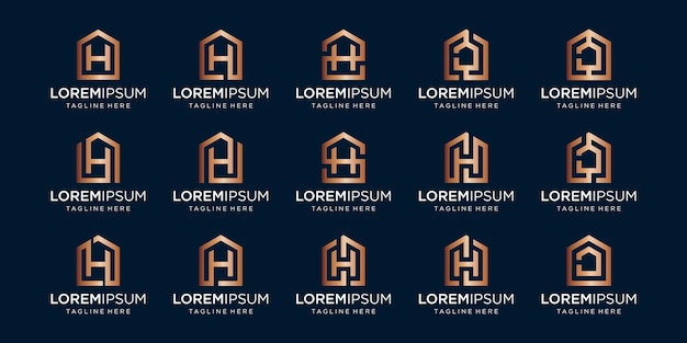 Set of home logo combined with letter h, designs template.