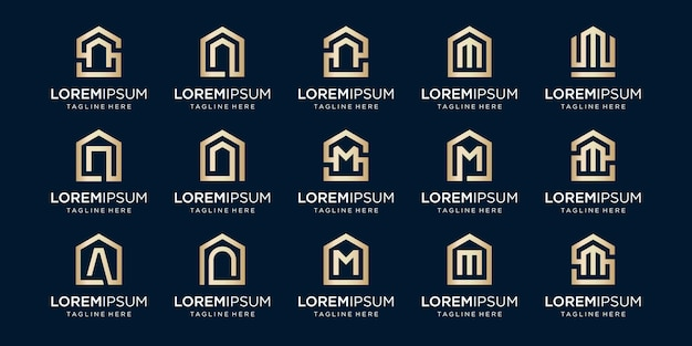Set of home logo combined with letter n, m, a, designs template.