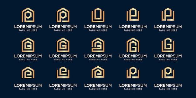 Set of home logo combined with letter p, g, e, designs template.