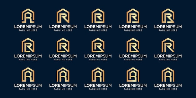 Set of home logo combined with letter r, designs template.